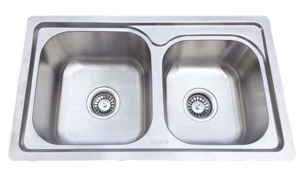 Walrus 990041S 不鏽鋼雙膽平邊檯面廚盆連去水 700x400x210mm 珍珠鉻