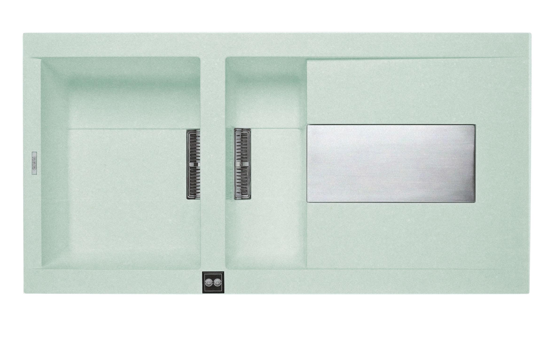 意大利 ELLECI Sirex 475 LVI47591 大細膽平邊檯面廚盆連右翼 1000x515x224mm 翡翠色