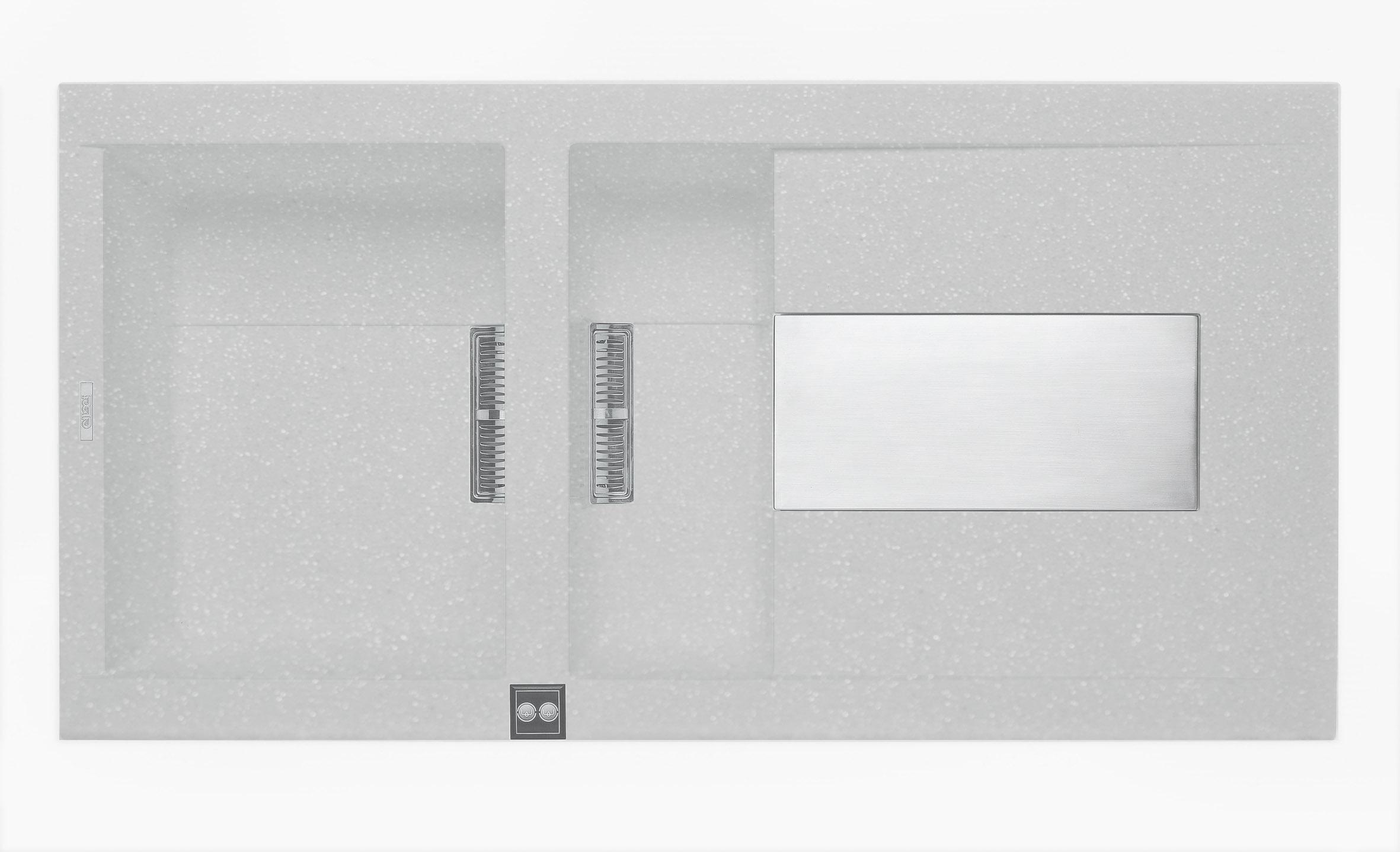 意大利 ELLECI Sirex 475 LVI47597 大細膽平邊檯面廚盆連右翼 1000x515x224mm 銀色