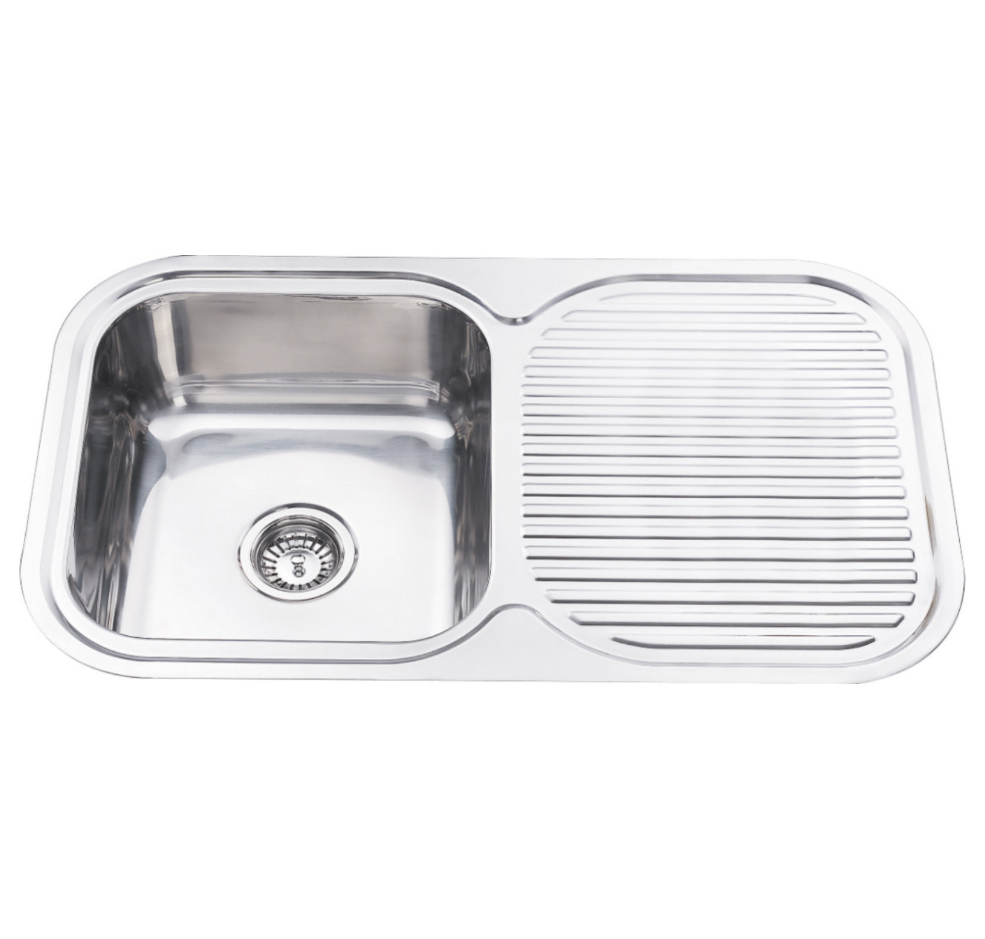 Walrus NH346S 不鏽鋼單膽單翼平邊檯面廚盆連去水 850x500x180mm 鏡面鉻