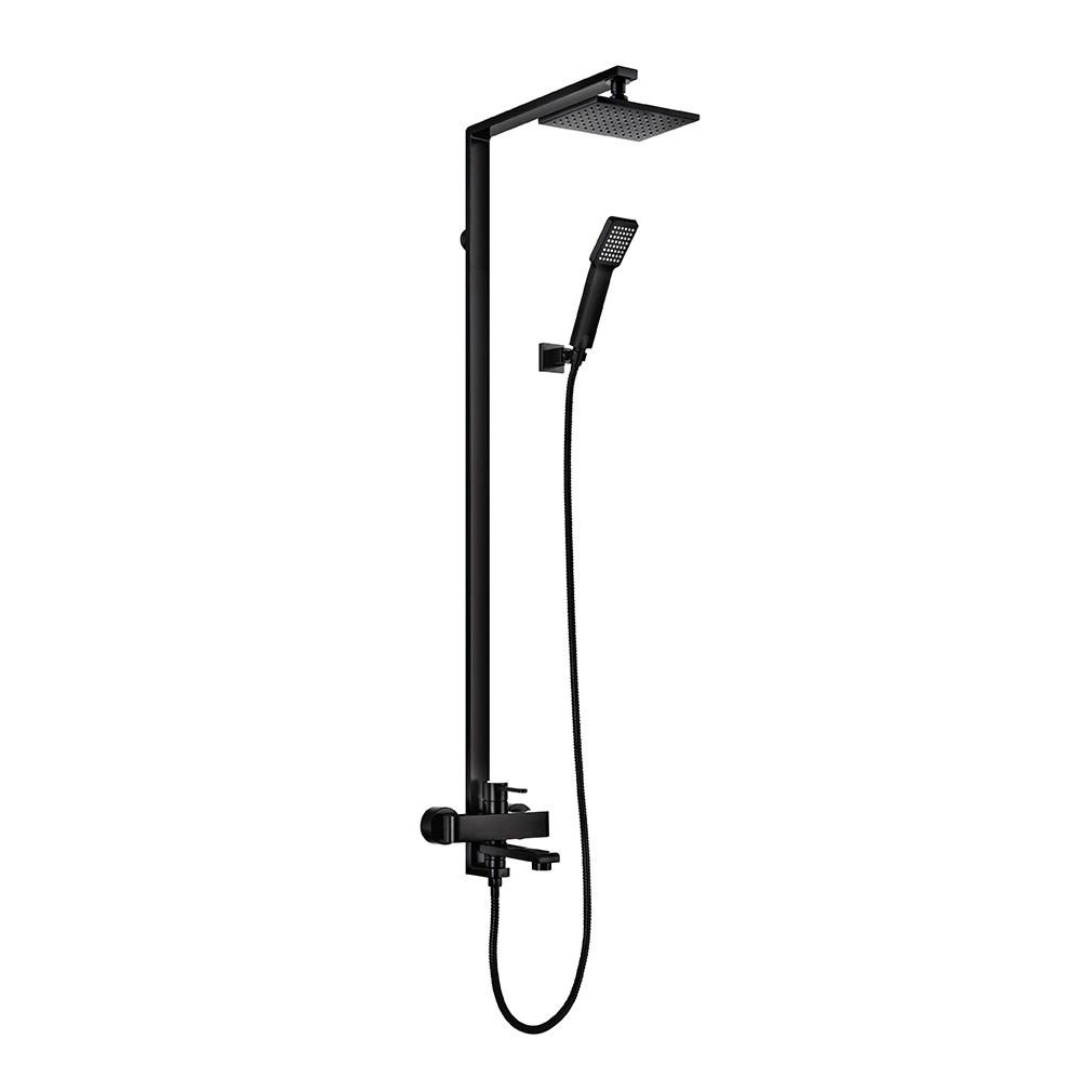 Walrus Serena 8166B.D56-PB 明牆長方形雨淋式花灑組合連浴缸龍頭 黑色