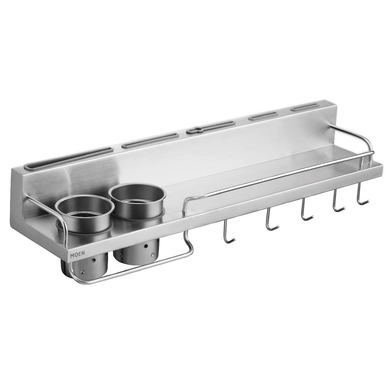 美國 Moen Celine KAC0104SL 不鏽鋼多功能廚房置物掛架 600mm (拉絲銀)