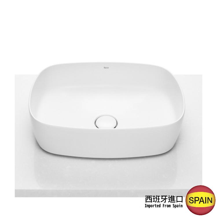 西班牙 ROCA Inspira 327500 檯上柔方面盆連原裝去水(裝飾用) 500x370mm 白色 西班牙進口