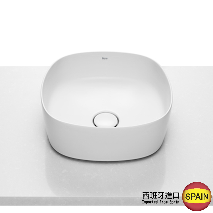 西班牙 ROCA Inspira 327502 柔方形檯上面盆連原裝去水(裝飾用) 370x370x140mm 白色 西班牙進口