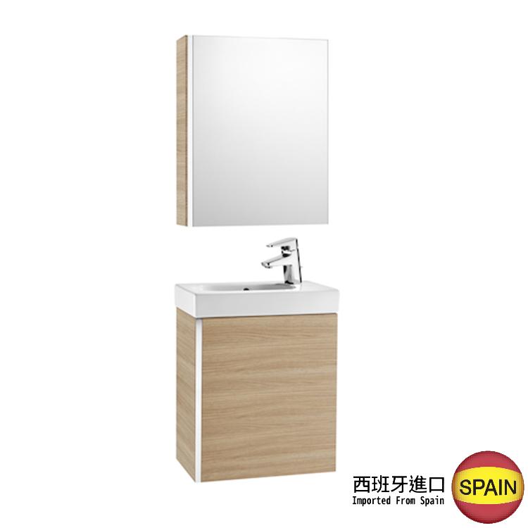 西班牙製造 ROCA Mini 855866155 鏡箱 450x140x600mm + 掛牆面盆連單門掛牆吊櫃 450x250x575mm